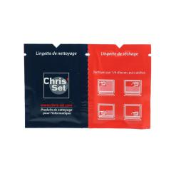 2 IN 1 LENS CLEANING WIPES. one wipes for cleaning your glasses and the other for drying it